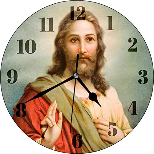 Dadidyc Jesus Christ Wall Clock Decor for Bedroom Nursery Round Silent Clock Art for Kids Girls Boys Room Christian Gifts 10 Inches