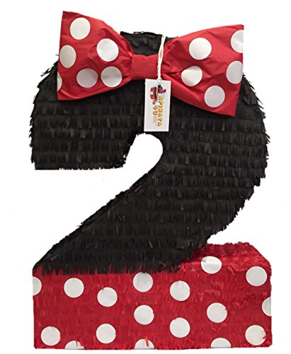 APINATA4U Large Number Two Pinata Black Color with Red Bow