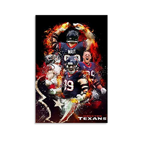 GSDGH Football Player Houston Texans JJ Watt Sports Poster Poster Decorative Painting Canvas Wall Art Living Room Decor Posters Bedroom Painting 20x30inch(50x75cm)