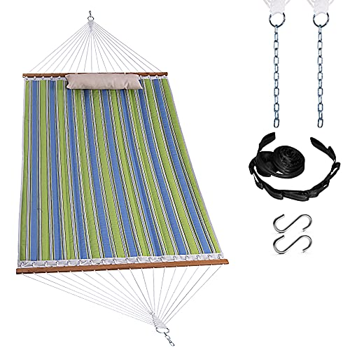 Harbourside Quilted Fabric Hammock,Double Hammock with Spreader Bar and Soft Pillow,2 People Hammock 450 LBS Weight Capacity,Blue &Green Stripe