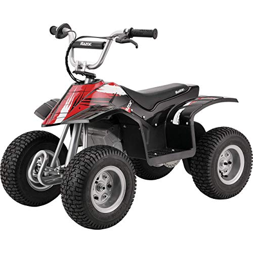 Razor Dirt Quad – 24V Electric 4-Wheeler Ride-On for Kids 8+, Twist-Grip Variable-Speed Acceleration Control, Hand-Operated Disc Brake, 12' Knobby Air-Filled Tires