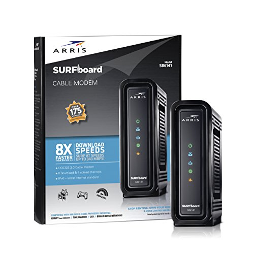 ARRIS SURFboard (8x4) DOCSIS 3.0 Cable Modem, approved for Cox, Spectrum, Xfinity & more (SB6141 Black)