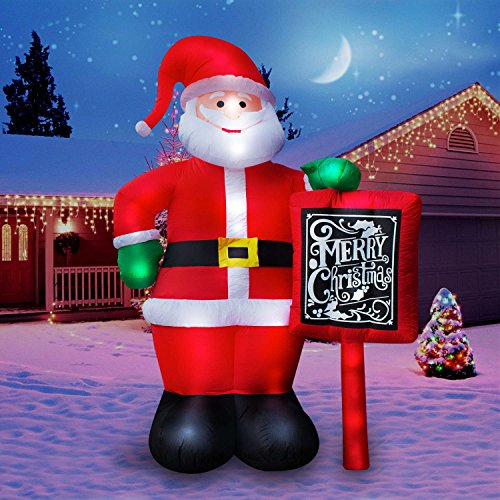 Holidayana Giant Santa Christmas Inflatable - 10 ft Tall Santa Clause with Merry Christmas Sign Inflatable Outdoor Yard Decoration with LED Lights, Built-in Fan, and Anchor Ropes