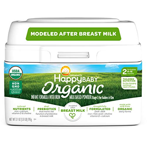 Happy Baby Organic Infant Formula Milk Based Powder with Iron Stage 2, 21 Ounce (Packaging May Vary)