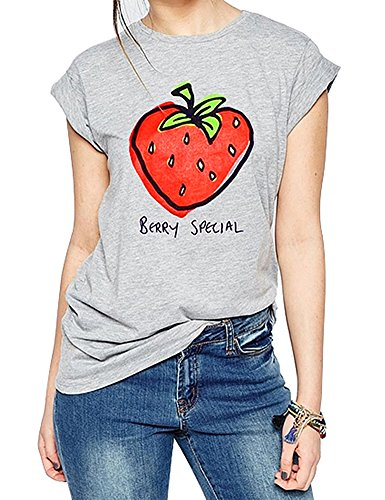FV RELAY Women's Printed Tops Cute Short Sleeve Casual Teen Girls Tees T Shirts (S, Grey)