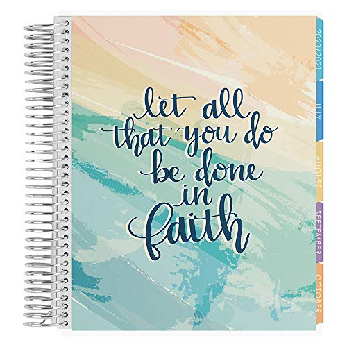 Erin Condren 18 - Month 2020-2021 Faith Quote Coiled Life Planner with Flower Power Interior (July 2020 - December 2021) Hourly Layout. Organizer, Monthly Calendar Tabs and Stickers