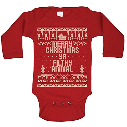 Ya Filthy Animal Merry Christmas Ugly Christmas Sweater Contest Home Baby Long Sleeve One Piece Newborn Red