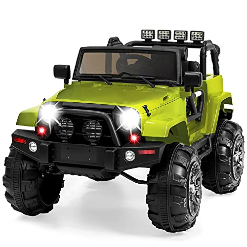 Best Choice Products Kids 12V Ride On Truck, Battery Powered Toy Car w/ Spring Suspension, Remote Control, 3 Speeds, LED Lights, Bluetooth - Green