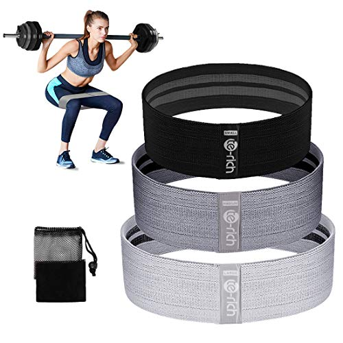 Te-Rich Fabric Resistance Loop Exercise Bands, Cloth Booty Training Bands, Heavy/Non-Slip/Thick Wide Fitness Elastic Circle Band for Legs and Butt/Squat/Glute/Hip/Thigh, Gym Workout Band for Women/Men