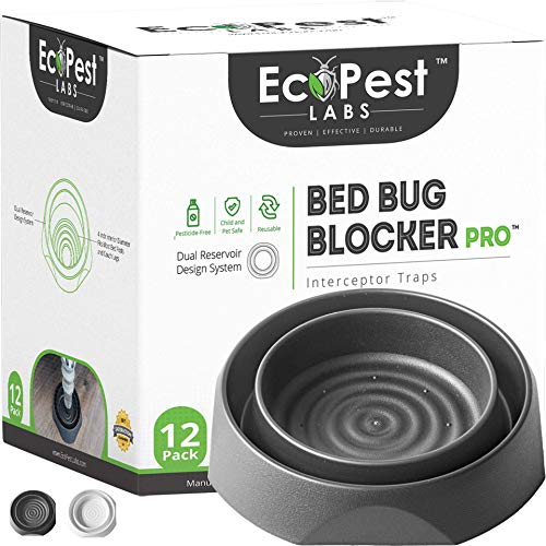 Bed Bug Interceptors - 12 Pack | Bed Bug Blocker (Pro) Interceptor Traps (Black) | Insect Trap, Monitor, and Detector for Bed Legs