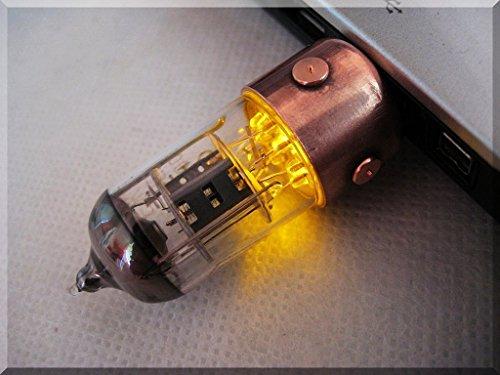 Handmade 64GB Orange Pentode Radio Tube USB 3.1 Flash Drive with Wood Stand. Steampunk/Industrial Style