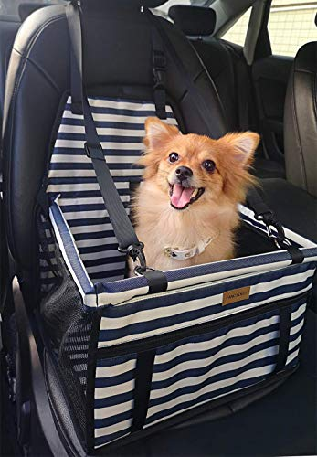 FANCYDELI Puppy Car Seat Upgrade Deluxe Portable Pet Dog Booster Car Seat Waterproof with Clip-On Safety Leash,Perfect for Small Pets Blue-White up to 15 lbs