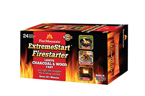 Pine Mountain ExtremeStart Wrapped Fire Starters, 24 Starts Firestarter Wood Fire Log for Campfire, Fireplace, Wood Stove, Fire Pit, Indoor & Outdoor Use