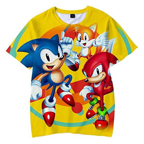 Cheerful D Sonic-Hedgehog Unisex Stylish 3D Printed Graphic Short Sleeve T-Shirts for Women Men Boys Girls XL Black