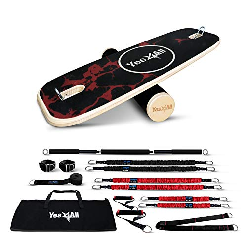 Yes4All Combo Balance Board & Resistance Bands – Package Includes 2 Wrist Straps, 2 Handles, 1 Exercise Bar, 1 Door Anchor & 1 Carry Bag