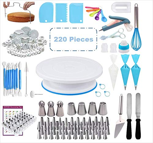 Cake Decorating Supplies Kit,HOGAE 220 PCS Baking Set with Cake Rotating Turntable, Piping Icing Tips, Russian Nozzles, Fondant Tools, Pattern Chart, Cake Baking Supplies for Beginners and Cake Lovers