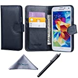 Wisdompro Galaxy S5 Case, Premium PU Leather 2-in-1 Protective Flip/Folio Wallet Case with Multiple Credit Card/ID Card Holder/Slots for Samsung Galaxy S5 -Black w/o Lanyard