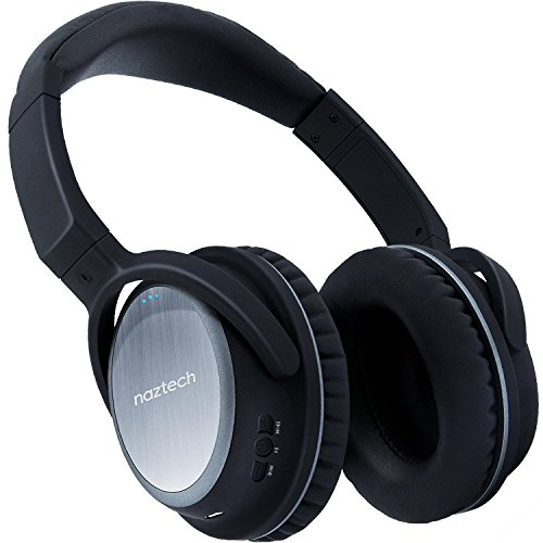 Naztech XJ-500 Wireless BT Headphones w/Padded Ear Cushion Hi-definition Audio up to 20 Hrs Play for Travel, TV, Workouts, Online Class + More [Black]