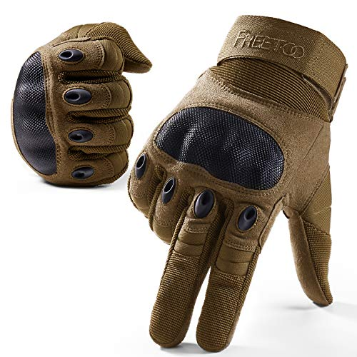 FREETOO Knuckle Tactical Gloves for Men Desert Military Gloves for Shooting Airsoft Paintball Motorcycle Climbing and Heavy Duty Work (Large)