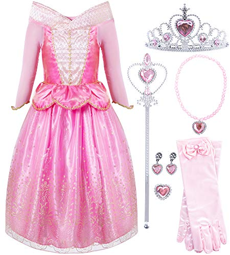 FUNNA Sleeping Princess Costume for Beauty Girls Dress up Pink with Accessories, 7-8 Years