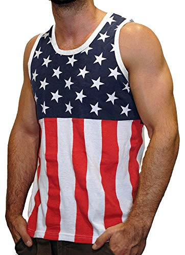Licensed Mart Men's American Flag Stripes and Stars Tank Top Shirt TAF05 L