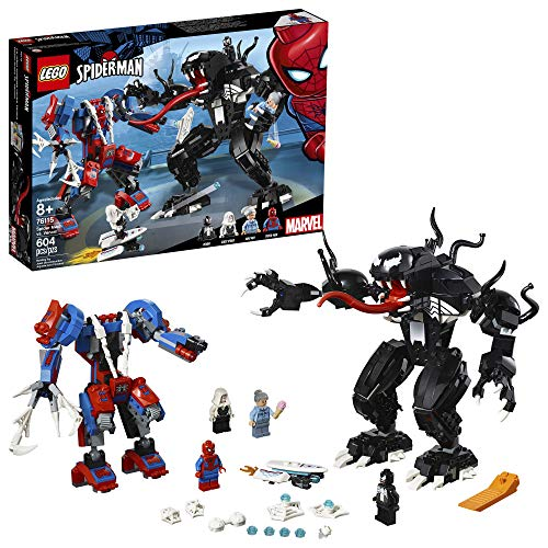 LEGO Super Heroes Marvel Spider Mech Vs. Venom 76115 Action Toy Building Kit with Web Shooter and Gripping Toy Claw Includes Spider-Man Minifigures Venom and Ghost Spider (604 Pieces)