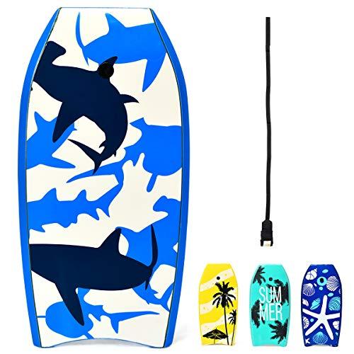 "GYMAX 33""/37""/41"" Super Lightweight Bodyboard with HDPE Slick Bottom & Premium Wrist Leash, Durable Bodyboard for Kids Teens and Adults (White Blue Shark, 33)"