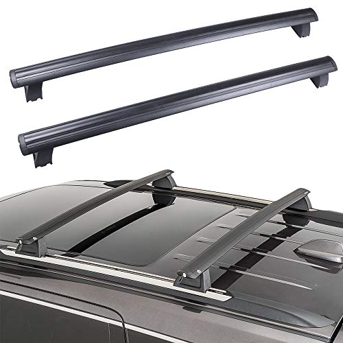 ROADFAR Roof Rack Aluminum Top Rail Carries Luggage Carrier Fit for 2011 2012 2013 2014 2015 2016 2017 2018 2019 for Jeep Grand Cherokee 3.0L 3.6L 5.7L 6.2L Baggage Rail Crossbars