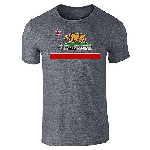 Pop Threads California Republic Calexit Flag Dark Heather Gray L Graphic Tee T-Shirt for Men