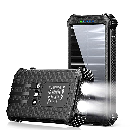 Solar Power Bank,30000mAh Portable Solar Phone Charger Power Bank with 3 Cables & LED Flashlights,Solar Charger Power Bank Fast Charging for iOS &Android(Black)