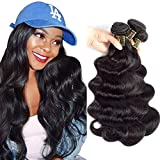 QTHAIR 12A Grade Brazilian Virgin Hair Body Wave Natural Black 100% Unprocessed Virgin Brazilian Body Wavy Human Hair Weave 3 Bundles 20' 18' 16' 300g Brazilian Body Wave Human Hair Extensions