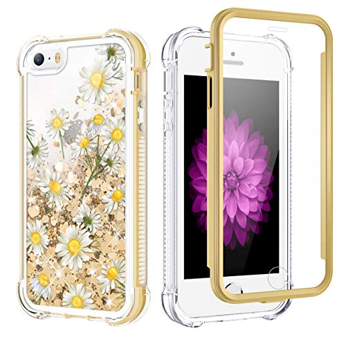 Caka Glitter Case for iPhone SE 2016 Case Glitter Bling Liquid for Women Girls Protective Full Body Fashion Flowing Shining Quicksand Shockproof Chamomile Phone Case for iPhone 5 5S SE (Daisy)
