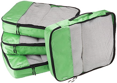 AmazonBasics 4 Piece Packing Travel Organizer Cubes Set - Large, Green