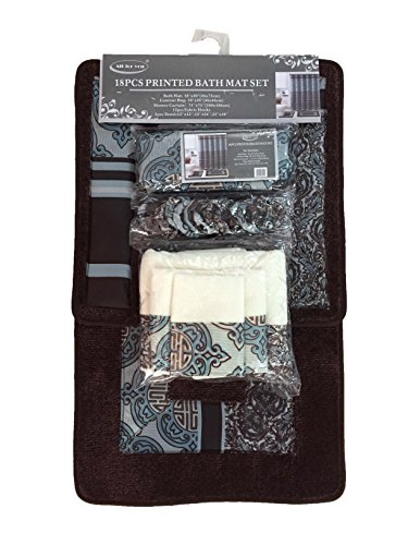 ALL FOR YOU 18 Piece Printed Banded Shower Curtain Bath Set 1 Bath Mat 1 Contour 1 Shower Curtain 12 Matching Fabric Shower Rings 3 Pcs Matching Towel Set 100% Polyester (Coffee)