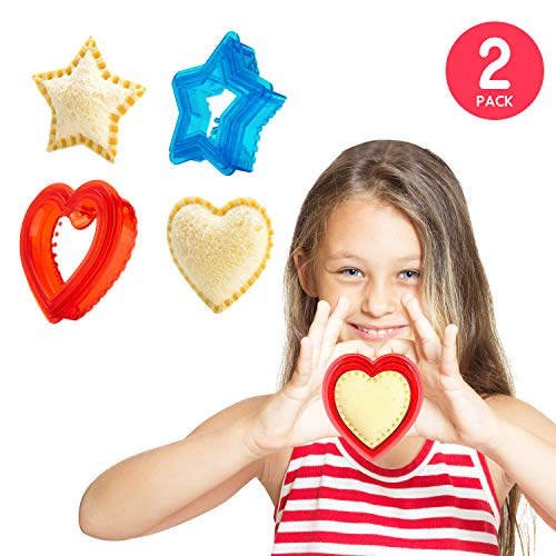 Sandwich Cutter and Sealer for Kids - Heart & Star Shape Decruster Sandwich Maker, 6 PCS (2 Sets)