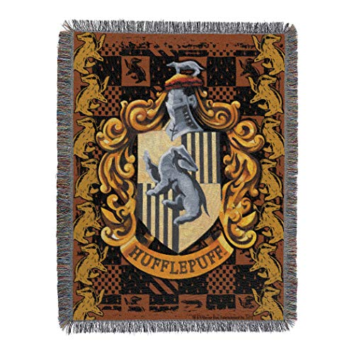Harry Potter, Hufflepuff Crest Woven Tapestry, 48' x 60' Throw Blanket, 48'' x 60'