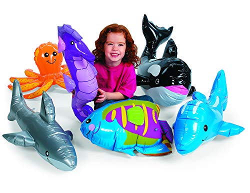 Large Under The Sea Inflatables (6 pieces) Party Favors and Decor, Includes a Whale, Dolphin, Octopus, Shark, Rainbow Fish, and Sea Horse
