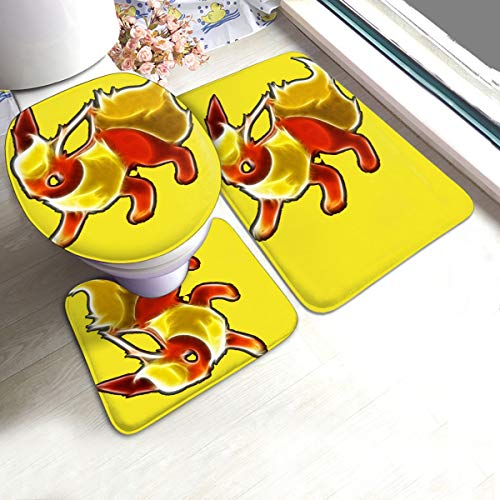 VV8VJBOY0D 3 Piece U-Mats Rug Nonslip for Bathroom Bath Eeveelutions Flareon Glow Rugs Bedding Antiskid Pad Floor Door Bathtub Lid Contour Carpet