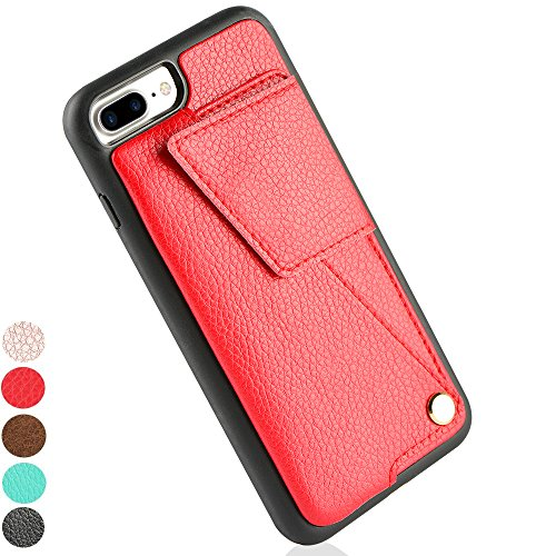 ZVEdeng iPhone 8 Plus Wallet Case, iPhone 8 Plus Card Holder Case, iPhone 7 Plus Wallet Case with Credit Card Holder Leather Rotational Wallet Case Magnetic Flip Case-Red