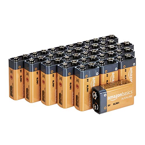 Amazon Basics 24 Pack 9 Volt Performance All-Purpose Alkaline Batteries, 5-Year Shelf Life, Easy to Open Value Pack