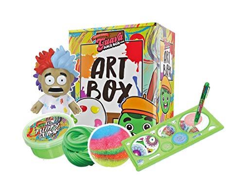 Studio71 Guava Juice Art Box - Fun & Innovative Art Kit Toy with Collectible Artist Roi Figure, Fluffy Slime, Crystal Growing Kit, Bouncy Ball Kit, Spiral Art Kit, and Super Duper Bubble Ball