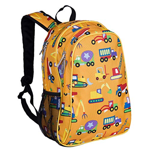 Wildkin Kids 15 Inch Backpack for Boys and Girls, Perfect Size for Preschool, Kindergarten and Elementary School, 600-Denier Polyester Fabric Backpacks, BPA-free, Olive Kids (Under Construction)