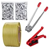 Lifeisbetter Pallet Packaging Strapping Banding Kit Tensioner Tool Sealer, 3200' Length x 1/2' Wide Coil Reel for Packing