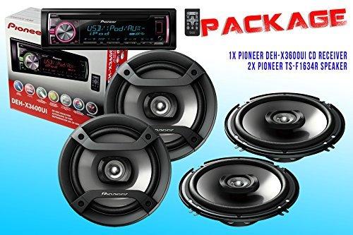 Package ! Pioneer DEH-X3600UI CD-Receiver + Two Sets Pioneer TS-F1634R Car Speakers - 4 Speakers