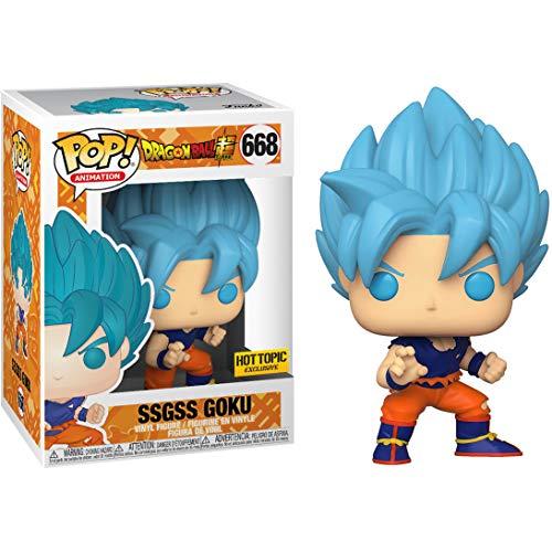 SSGSS Goku (Hot Topic Exc): Funko Pop! Animation Vinyl Figure & 1 Compatible Graphic Protector Bundle (668 - 42082 - B)