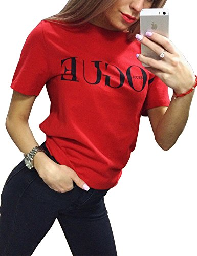 FV RELAY Womens Black Short Sleeve Letter Print T-Shirt Casual Teen Girls Tee Tops (L, Red)