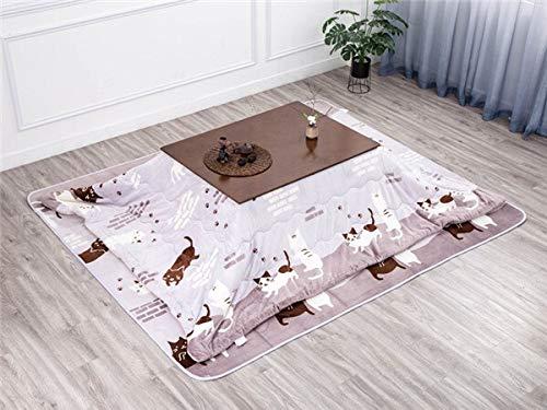 AntiGnor 4pcs/Set Kotatsu Set 1 Table 2 Futon 1Heater Nordic Design Oak Wood Japanese Furniture Living Room Casual Heated Tatami Table (Color : Brown Set)