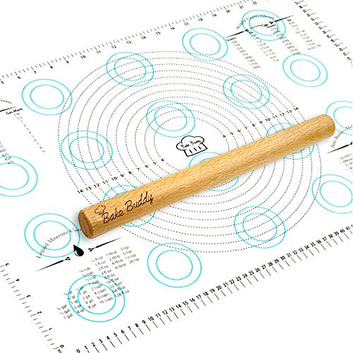 Bake Buddy Silicone Baking Mats -Non-Slip Pastry Mat with Measurements, Multipurpose Countertop Protector Fondant Mat for Rolling Dough - Large Size Baking Mat 17x26 Inches - Bonus Wooden Rolling Pin