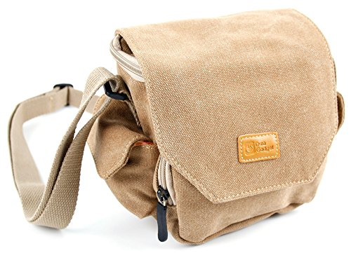 DURAGADGET Light Brown Medium Sized Canvas Bag w/Pockets & Customizable Interior - Compatible with Gaosa Portable Wireless Speaker 10261559