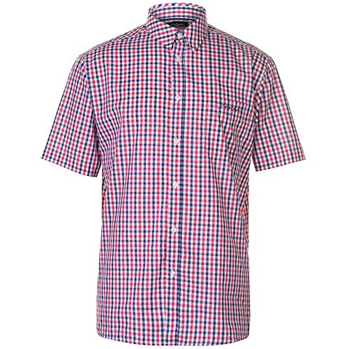 Pierre Cardin Mens Short Sleeve Checked Shirt with Signature Embroidery (Medium, Red/Royal)